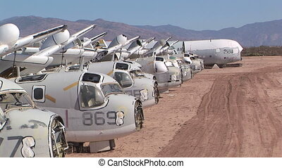 Airplane Boneyard - Row of abandoned military airplanes