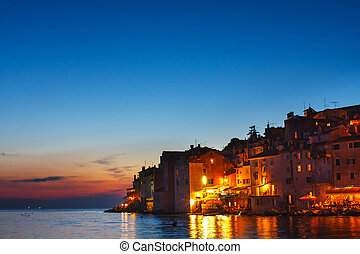 view on old town in Rovinj, Istria, Croatia Vintage look