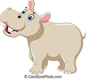 funny rhino cartoon smiling