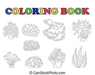 coloring book of set coral cartoon