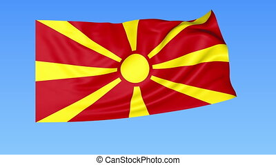 Waving flag of Macedonia, seamless loop. Exact size, blue background. Part of all countries set. 4K ProRes with alpha