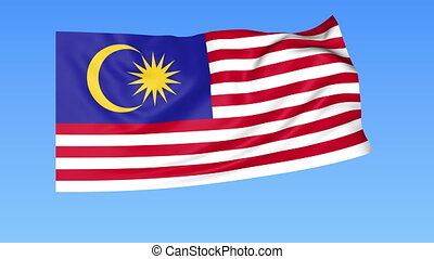 Waving flag of Malaysia, seamless loop. Exact size, blue background. Part of all countries set. 4K ProRes with alpha