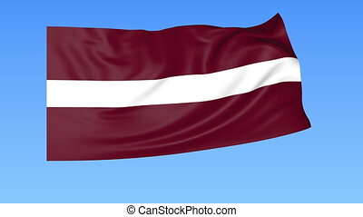 Waving flag of Latvia, seamless loop. Exact size, blue...