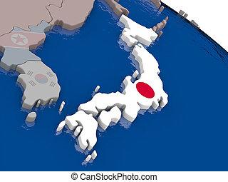 Japão, com, bandeira,