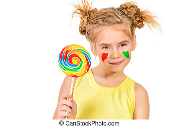 kid with lollipop - Cute little girl with painted colorful...