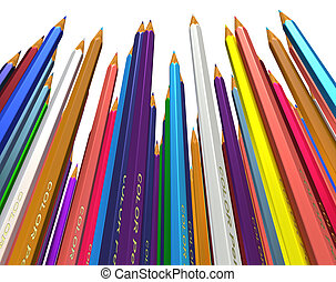 Large group of colored pencils Colored pencils tightly...