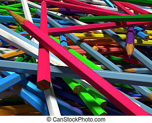 Large group of colored pencils - Close up of large group of...
