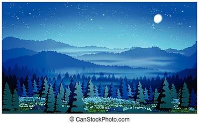 beautiful forest at night - Stylized vector illustration of...