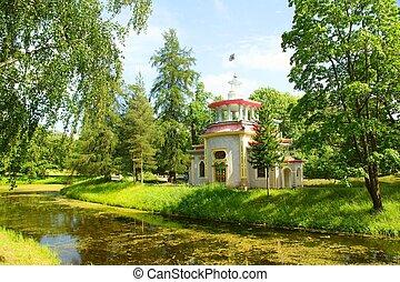 Squeaky Pavilion in Catherine park in Tsarskoye Selo