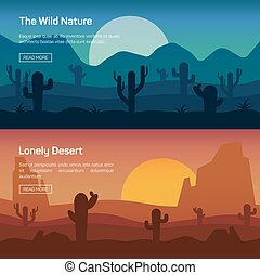 Horizontal banner set with lonely desert and wild nature