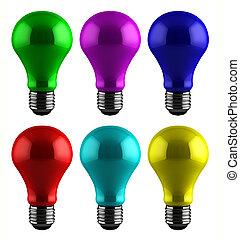 colorido, luz, bombillas