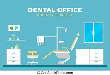 Vector flat banner dental office with seat and equipment tools.