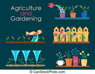 Vector flat banners for garden work and gardening projects....