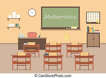 Vector flat illustration of mathematic classroom at the...