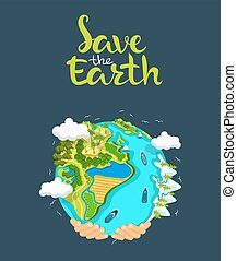 Earth day concept. Human hands holding floating globe in space.