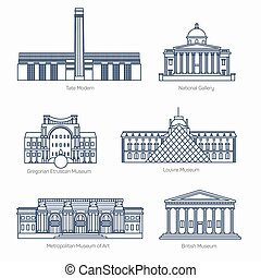 Monuments thin line vector icons. Museums