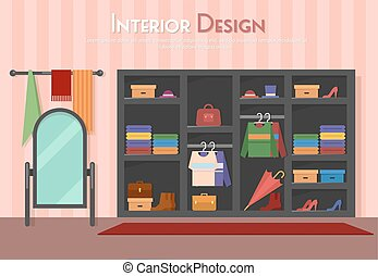 Vector flat illustration of room, wardrobe, mirror with towels