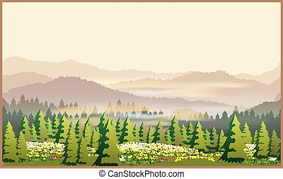 beautiful forest - Stylized vector illustration of a...