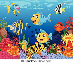 funny fish cartoon with sea life - vector illustration of...