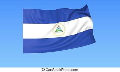 Waving flag of Nicaragua, seamless loop Exact size, blue...
