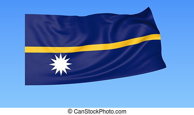 Waving flag of Nauru, seamless loop. Exact size, blue background. Part of all countries set. 4K ProRes with alpha