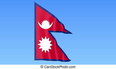 Waving flag of Nepal, seamless loop. Exact size, blue...