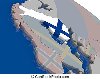 Finland with flag highlighted on model of globe. 3D...