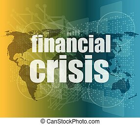 financial crisis concept - business touching screen vector quotation marks with thin line speech bubble. concept of citation, info, testimonials, notice, textbox. flat style