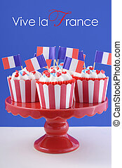 Happy Bastille Day cupcakes - Happy Bastille Day red, white...