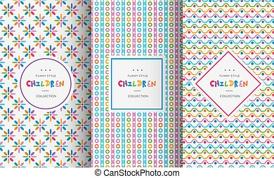 Bright colorful seamless patterns for baby style. Vector...