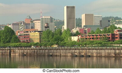Downtown Portland and the Willamette River - Waterfront park...