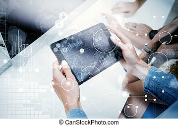 Woman Touching Screen Electronic Tablet HandProject Manager...