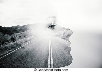 Thoughtful female double exposure - Side view of thoughtful...