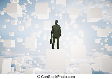 Businessperson on abstract cube - Businessman with briefcase...
