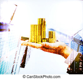 Hand holding coins multiexposure - Businessman hand holding...