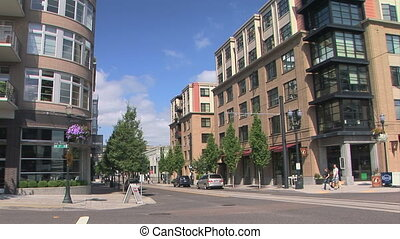 Portland city scene - People crossing a street in downtown...