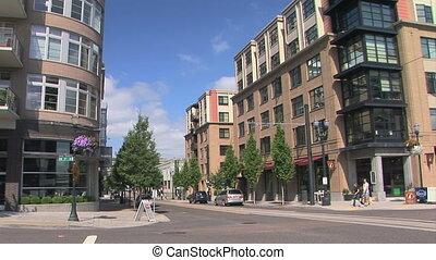 Portland city scene - People crossing a street in downtown...