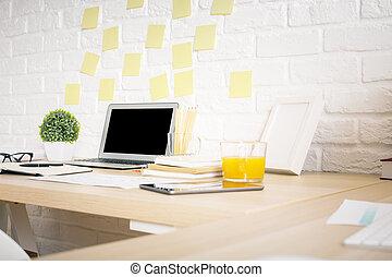 Creative designer desk side - Side view of creative designer...