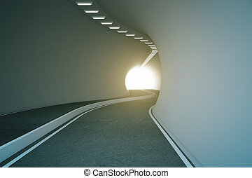 Road tunnel with bright light at the end 3D Rendering
