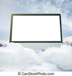 Computer monitor on mountain top - Abstract huge blank white...