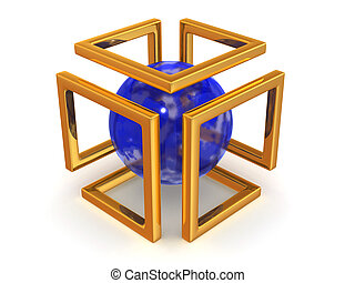 Abstract image Sphere and symbol of Infinity 3d