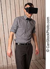 Man in VR glasses - Man in virtual reality helmet VR glasses...