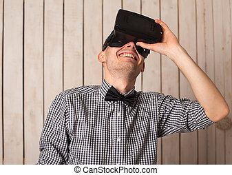 Man in VR glasses - Man in virtual reality helmet VR glasses...