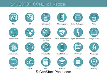 Medical equipment icons set of Internet of Things. Vector...