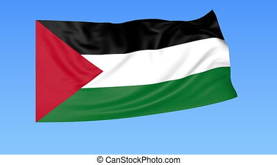 Waving flag of Palestine, seamless loop. Exact size, blue...