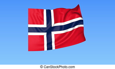 Waving flag of Norway, seamless loop. Exact size, blue background. Part of all countries set. 4K ProRes with alpha