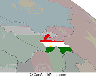 Tajikistan with flag highlighted on model of globe. 3D...