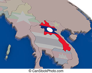 Laos with flag
