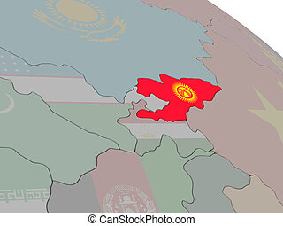 Kyrgyzstan with flag highlighted on model of globe. 3D...