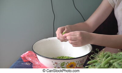Young hands shelling green peas in the village in full HD
